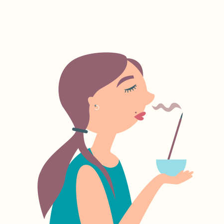 The girl smells of incense. Aroma sticks. Aromatherapy. Feng shui. Sandalwood Fragrant smoke. Spa. Vector Иллюстрация