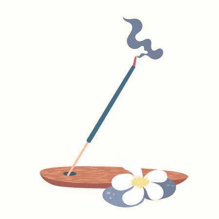 Scented Spa stick on a wooden stand. Incense stick. Cosmetic procedure aromatherapy. Vector