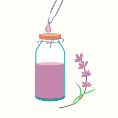Lavender essential oil with pipette. Cosmetic procedure aromatherapy. Vector