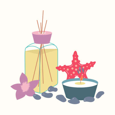 Spa treatment essential oil and aroma candle. Incense sticks next to a starfish. Cosmetic procedure. Vector
