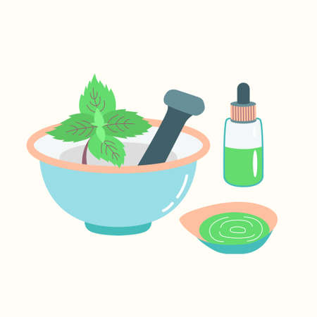 Mortar with a pusher preparation of essential oil from mint. Cosmetic procedure. Vector