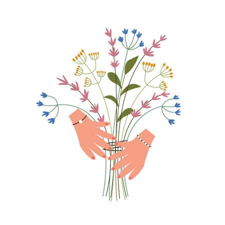Bouquet of wildflowers in the hands. Herbal harvest. Alternative medicine alternative. Presentation of a flower gift. Vector