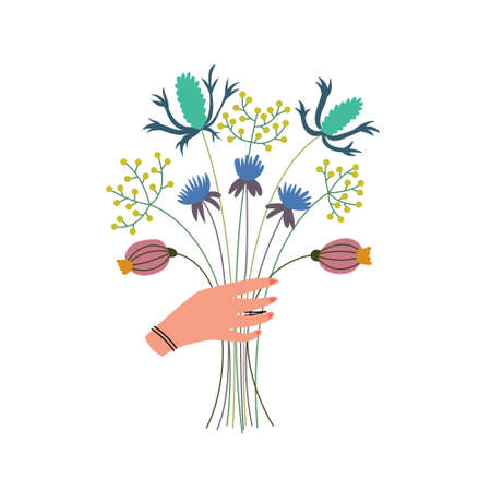 Lush bouquet of wildflowers in the hands. Herbal harvest. Alternative medicine alternative. Presentation of a flower gift. Vector Иллюстрация