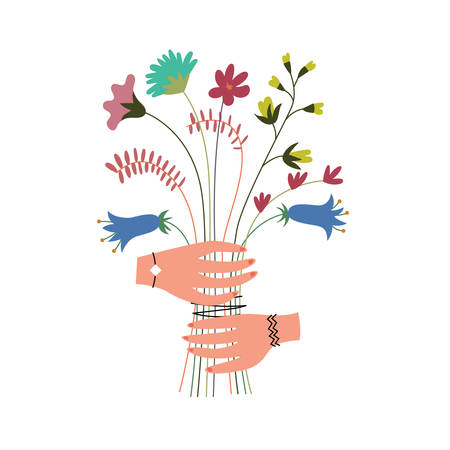 Colorful bouquet of wildflowers in the hands. Herbal harvest. Alternative medicine alternative. Presentation of a flower gift. Vector