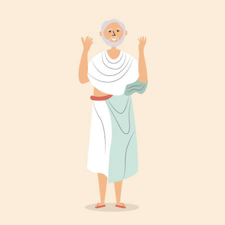 The man in the cassock raises his hands and prays. Praise of God. The old pilgrim. Pilgrimage. Religious man. Vector