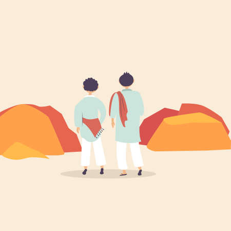 Two male pilgrims go to the mountains. Religious rite of pilgrimage. Sacred place in the mountains. Vector