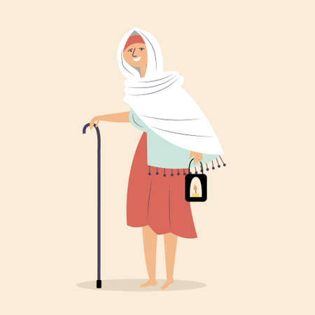 An elderly grandmother goes on a pilgrimage with a cane and candles. Sacred rite of pilgrims. Religious man. Vector