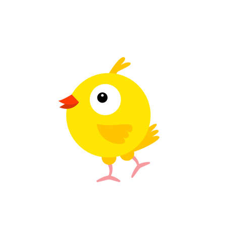 Cheerful bird yellow Canary. Cartoon character feathered. Vector Illustration