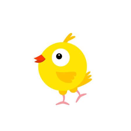Cheerful bird yellow Canary. Cartoon character feathered. Vector Illustration