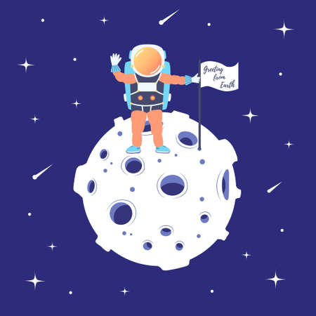 Astronaut stands on the moon with a flag. Landing on the satellite. Lunar mission. Space excursion. Star space. Vector Иллюстрация