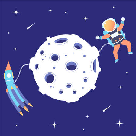 Astronaut and rocket soar in space near the moon. Landing on a satellite. Lunar mission. Space excursion. Star space. Vector