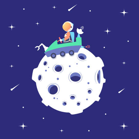 Astronaut rides on a lunar  on the surface of the moon. Landing on the satellite. Lunar mission. Space excursion. Star space. Vector Иллюстрация