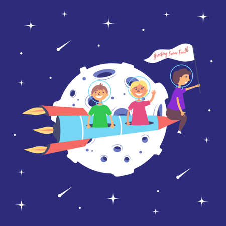 Children on a rocket fly to the moon. Lunar mission. Space excursion. Star space. Vector Иллюстрация