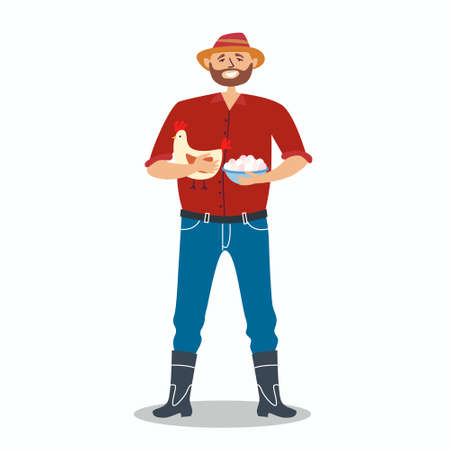 The farmer raises chickens and sells eggs. A man in a hat and boots holds a chicken and a basket of eggs in his hands. Environmental friendly products. Fresh food. Farming. Local production. Vector Иллюстрация