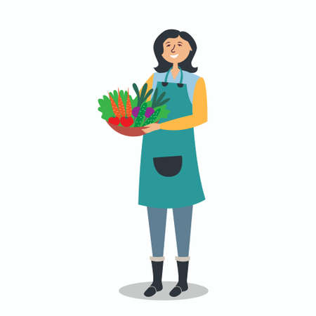 Farmer girl holding a basket of vegetables. Vegetarian harvest. Farming. Environmentally friendly products from the garden. Fresh food. Local production. Vector Иллюстрация