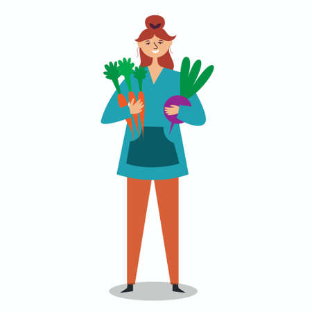 Girl farmer holding a large carrot and beet. Vegetarian harvest. Farming. Environmentally friendly products from the garden. Fresh food. Local production. Vector