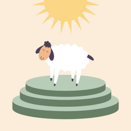 A sheep stands on the altar for sacrifices. Brings in sacrifice pet. Worship of God. Vector editable illustration