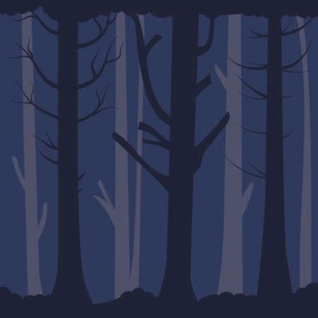 Dense gloomy forest. Old bare trees in the dark. Vector editable background Иллюстрация