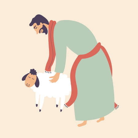 The man stroked a sheep. Brings in sacrifice pet. Worship of God. Vector editable illustration