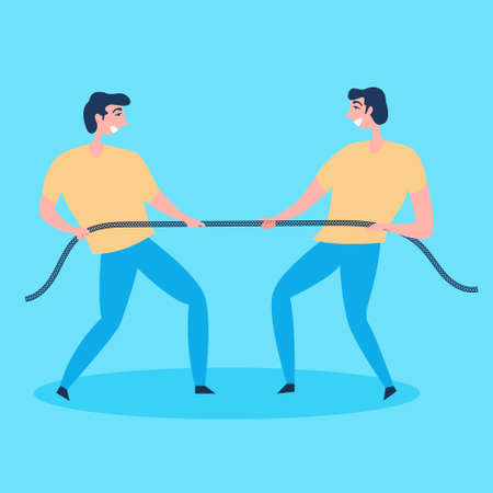 Men make every effort to pull the rope on themselves. Tough competition. Metaphor a lot of willpower. Fight with yourself. Overcome obstacles. Internal self-examination. Vector Иллюстрация