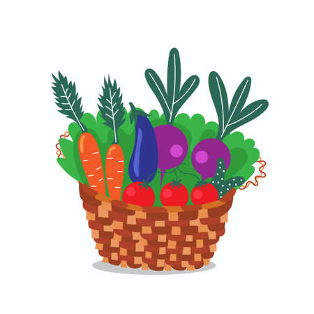 Wicker basket with useful vegetables. Local production. Environmentally friendly products. Farming. Isolated editable vector