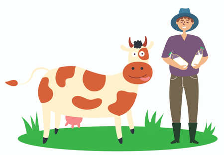 The farmer produces the milk from the cow. Local production. Environmentally friendly product. Farming. Beef meat. Isolated editable vector