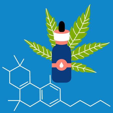 Oil with a sheet of hemp formula CBD. Drug marijuana. Bottle of vegetable oil. Vector