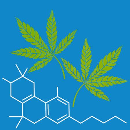Green leaves of hemp formula CBD. Drug marijuana. Vector