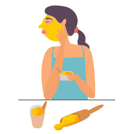Girl in household conditions hers face with turmeric mask. Cosmetic cleansing and moisturizing procedure. Skin nourishing. Vector