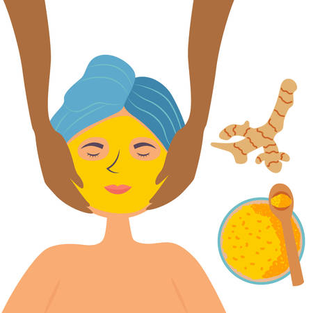 A white skinned girl in the Spa or salon gets a facial massage and a turmeric face mask. Cosmetic cleansing and moisturizing procedure. Skin nourishing. Vector 向量圖像