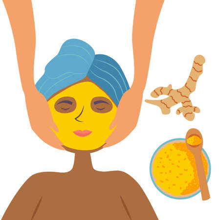 A black girl in the Spa or salon gets a facial massage and a turmeric face mask. Cosmetic cleansing and moisturizing procedure. Skin nourishing. Vector Illustration