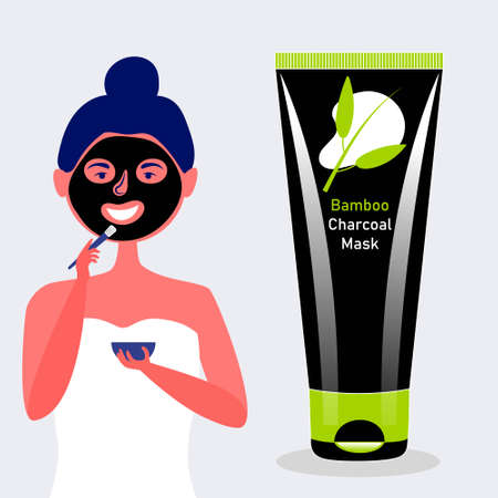 The girl puts a brush on the face of a mask of charcoal and bamboo. Black cosmetic charcoal mask. Vector