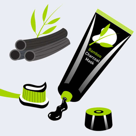 Charcoal and bamboo toothpaste brush. Package of whitening paste. Vector