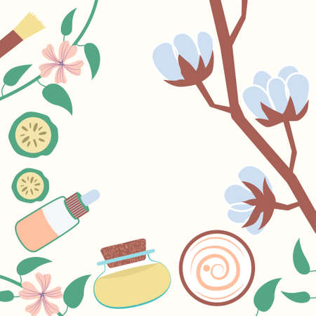 Frame top view natural cosmetics cotton cream essential oil. Vegetable and decorative frame. Vector Иллюстрация
