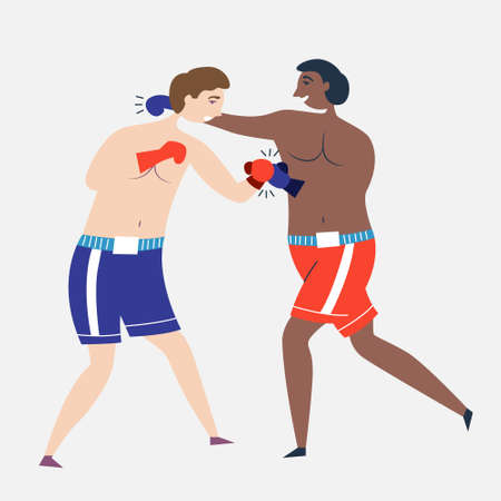 Boxers box each other in gloves. Boxing sparring Champions. Fight on fists. A powerful punch. Individual sport Boxing. Vector Иллюстрация