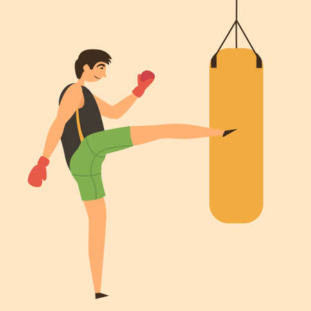 A man strikes with his foot on a punching bag. Boxer strength training. A powerful kick. Individual sport Boxing. Vector