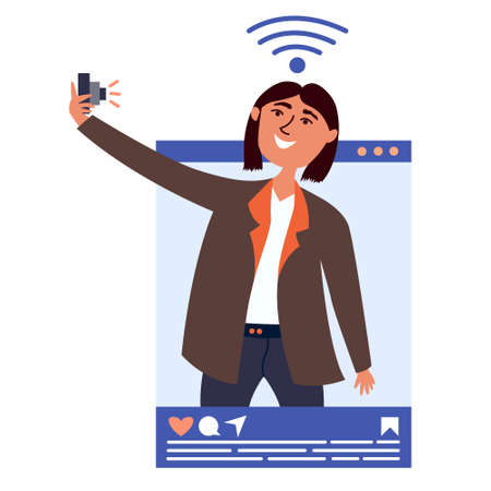 Guy influencer takes pictures of himself on camera, takes a selfie. Blogging in social networks. Blogger popular in social networks. Key opinion leader. Vector