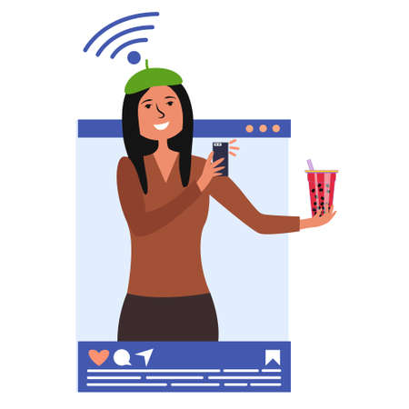 The girl influencer powerful man taking pictures of the drink on the phone. Selfie shooting food. Blogging in social networks. The blogger is popular on social networks. A key leader of public opinion