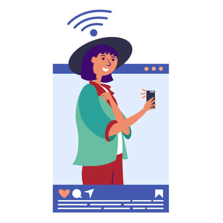 Girl in an influencer hat takes a selfie. Blogging in social networks. Blogger popular in social networks. Key opinion leader. Vector