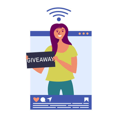 Girl influencer holds a giveaway on social networks. Blogging in social networks. Blogger popular in social networks. Key opinion leader. Vector