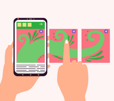 Carousel post on the side of the phone. Hand flips through the posts in the social network on the smartphone screen. Vector editable illustration