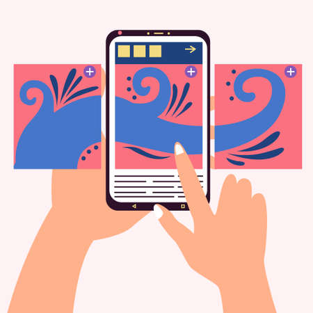 Carousel post in the center of the phone. Hand flips through the posts in the social network on the smartphone screen. Vector editable illustration
