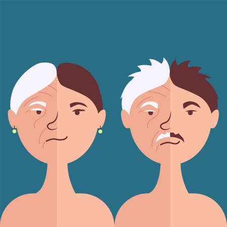 Male and female antiage face. Comparison of old age and youth. Age show transience. Vector illustration