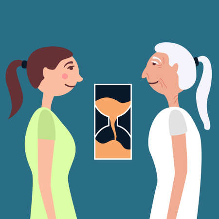 Young girl and old lady antiage time. Comparison of old age and youth. The hourglass shows transience. Vector illustration