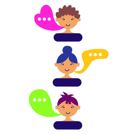 User avatars chat comments. Minimalistic cartoon portraits of characters are talking. Message exchange. Vector illustration