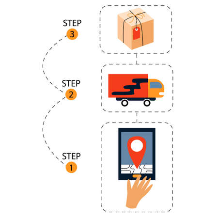 Stages of order tracking. A hand clicks on the tablet screen to track the goods on the map. Delivery truck. Carton order. Vector illustration Иллюстрация