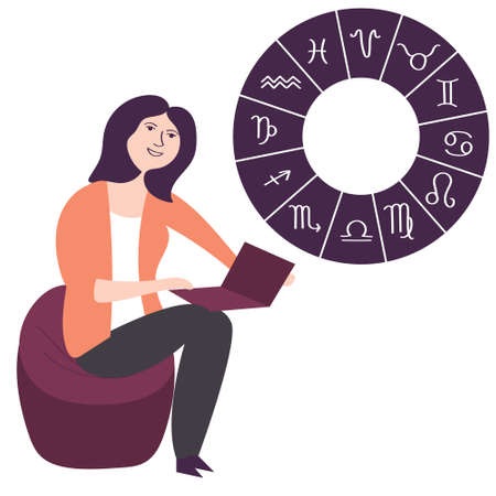 A girl looks at the Internet forecast astrology. Natal personal card. Mystical future. Occultism. Vector editable illustration