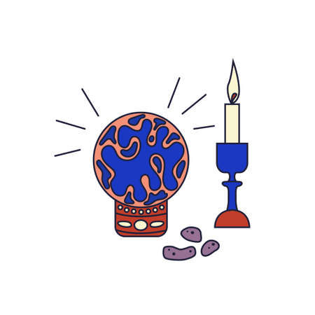 Crystal ball with a candle and stone runes. Fortune telling. Paranormal activity. Vector editable illustration