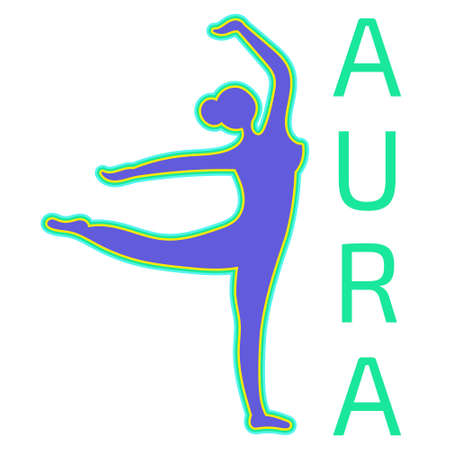 Silhouette of a dancing girl with a positive aura. Paranormal phenomenon of aura testing. Diagnosis of the emotional state of a person. Vector editable illustration