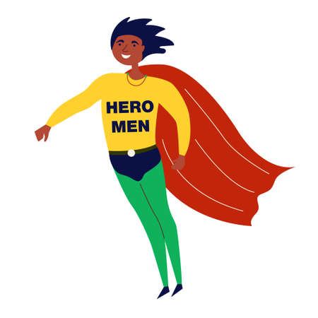 Black male hero african american. African American achievements. A man with superpowers saves the world. Vector editable illustration Иллюстрация